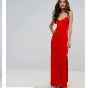 NWT Asos lace up red maxi dress